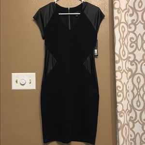 NWT! Black midi dress with faux leather detail.